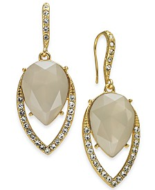 I.N.C. Stone & Crystal Teardrop Drop Earrings, Created for Macy's