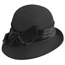 Scala Wool Felt Cloche with Velvet Bow