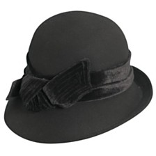 Scala Wool Felt Cloche with Velvet Bow