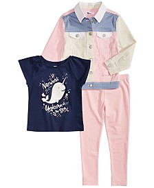 Epic Threads Little Girls Narwhale Graphic T-Shirt, Leggings & Colorblocked Denim Jacket, Created for Macy's