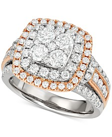 Diamond Halo Cluster Engagement Ring (2 ct. t.w.) in 14k White and Rose Gold