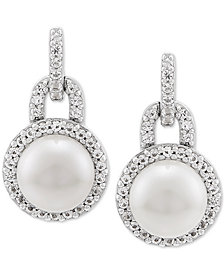 Cultured Freshwater Pearl (7mm) & White Topaz (1/3 ct. t.w.) Drop Earrings in Sterling Silver