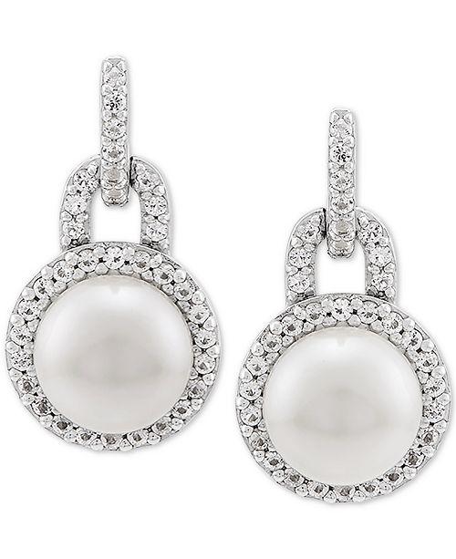 548ff8a1ba Macy's Cultured Freshwater Pearl (7mm) & White Topaz (1/3 ct. t.w. ...