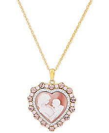 """Mother of Pearl (8mm) Cameo Heart 18"""" Pendant Necklace in 18k Rose Gold over Sterling Silver"""