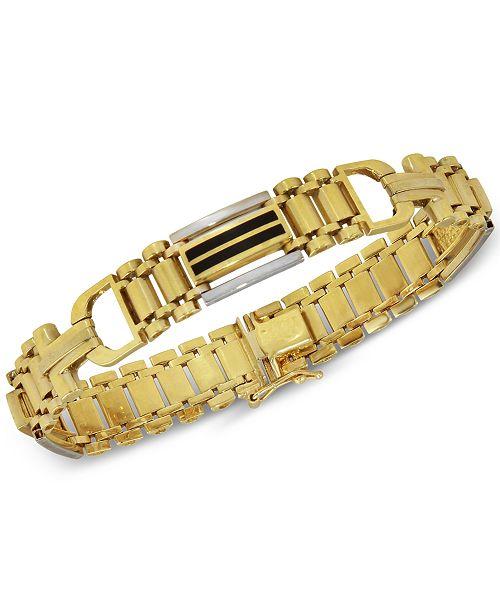 Macy's Men's Onyx (15mm x 2mm) Bracelet in 14k Gold