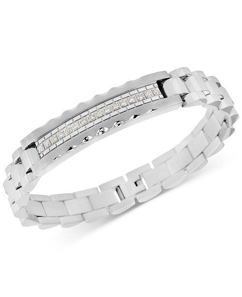 Macy's Men's Diamond (1/5 ct. t.w.) ID Bracelet in Stainless Steel
