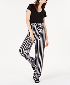 Ultra Flirt Juniors' Striped Paperbag-Waist Jumpsuit