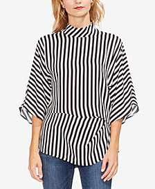 Vince Camuto Striped Mock-Neck Top