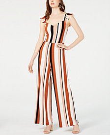 Bar III Flutter-Sleeve Striped Jumpsuit, Created for Macy's