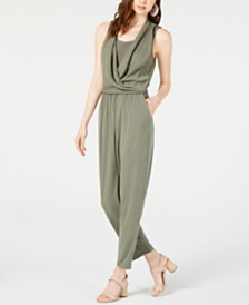 Bar III Sleeveless Draped Jumpsuit, Created for Macy's
