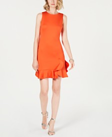 Vince Camuto Ruffle-Hem Shift Dress