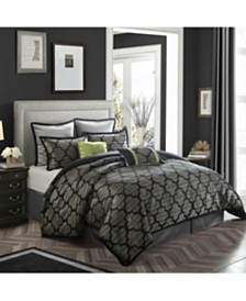 Alhambra 8-Piece Comforter Set, Silver Gray, King