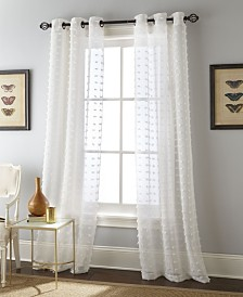 "Payton Grommet Sheer Curtain Panel Pair, White, 37 x 84"""