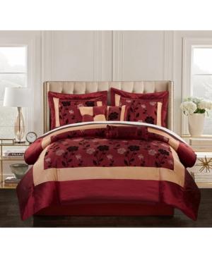 Angela 7-Piece Comforter Set, Red, Queen Bedding