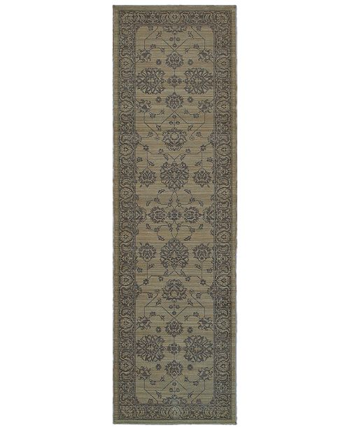 "Oriental Weavers Foundry 4924E Gray/Gray 2'7"" x 9'4"" Runner Area Rug"