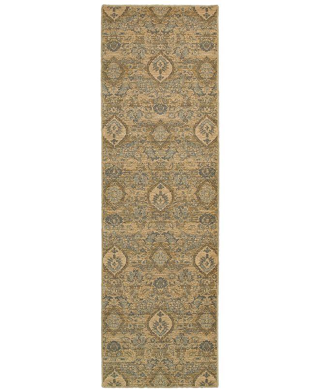 """Oriental Weavers Heritage 4925W Ivory/Blue 2'7"""" x 9'4"""" Runner Area Rug"""