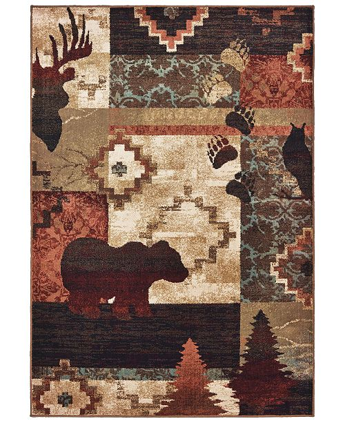 "Oriental Weavers Woodlands 9649A Brown/Rust 1'10"" x 7'6"" Runner Area Rug"
