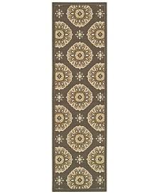 """Oriental Weavers Bali 5863N Gray/Gold 2'3"""" x 7'6"""" Indoor/Outdoor Runner Area Rug"""