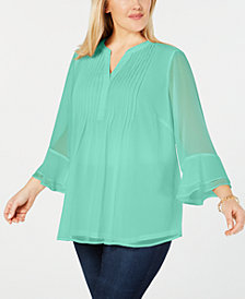 Charter Club Plus Size Double Ruffle Solid Pintuck Top, Created for Macy's