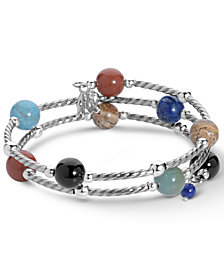 American West Multi Gemstone Coil Bracelet in Sterling Silver