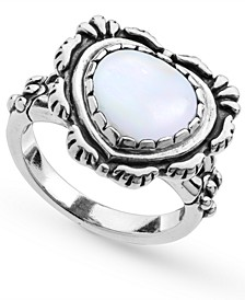 White Mother of Pearl Heart Bezel Set Ring in Sterling Silver
