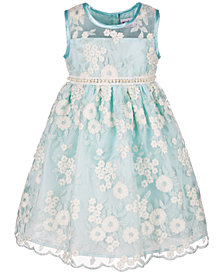 Blueberi Boulevard Toddler Girls Embroidered-Floral Illusion Dress
