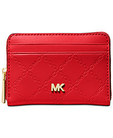 MICHAEL Michael Kors Chain Embossed Leather Zip-Around Card Case
