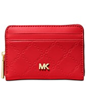 b5373ba5610b9 MICHAEL Michael Kors Chain Embossed Leather Zip-Around Card Case