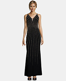 Xscape Petite Beaded V-Neck Gown