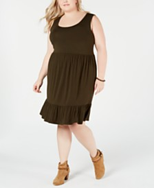 Style & Co Plus Size Ruffle-Hem Sleeveless Dress, Created for Macy's