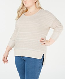Style & Co Plus Size High-Low Drop-Shoulder Sweater, Created for Macy's