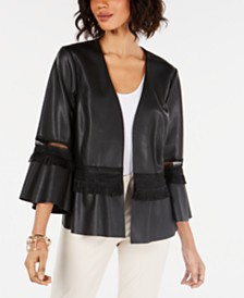 Alfani Lace-Inset Faux-Leather Jacket, Created for Macy's
