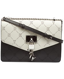 DKNY Elissa Logo Leather Shoulder Flap, Created for Macy's