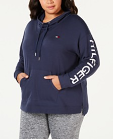 Tommy Hilfiger Sport Plus Size Logo Cowl-Neck Pullover Hoodie