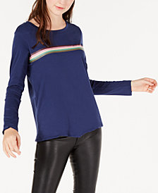 Material Girl Juniors' Striped Twist-Front Top, Created for Macy's
