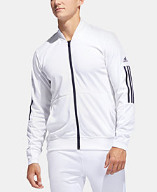 adidas Men's 3 Stripe Track Jacket with Mesh Arm Details and Side Snaps