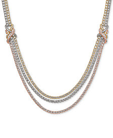 """Cubic Zirconia Tricolor Multi-Layer 17"""" Statement Necklace in Sterling Silver, Gold-Plate & Rose Gold-Plate"""