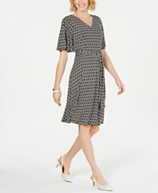 Charter Club Petite Geo-Print V-Neck Dress, Created for Macy's