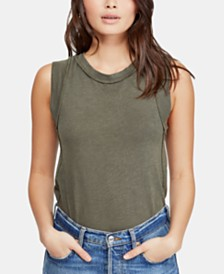 Free People Go To Cotton Exposed-Seam Top