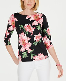 Charter Club Petite Floral-Print Boat-Neck Top, Created for Macy's