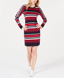 Tommy Hilfiger Striped Elbow-Cutout Dress, Created for Macy's
