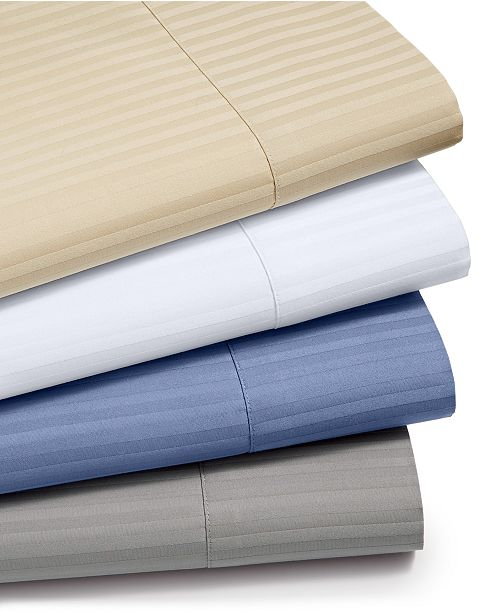 Sunham CLOSEOUT! Dobby Stripe 4-Pc Sheet Sets, 600 Thread Count, 100% Cotton