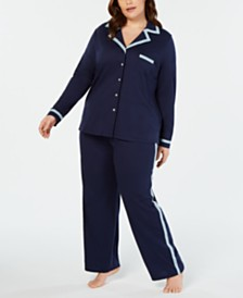 Alfani Pima Cotton Plus Size Long Sleeve Top & Pajama Pants Set, Created for Macy's