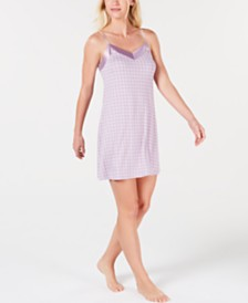Alfani Ultra Soft Satin Trim Knit Nightgown Created for Macy's