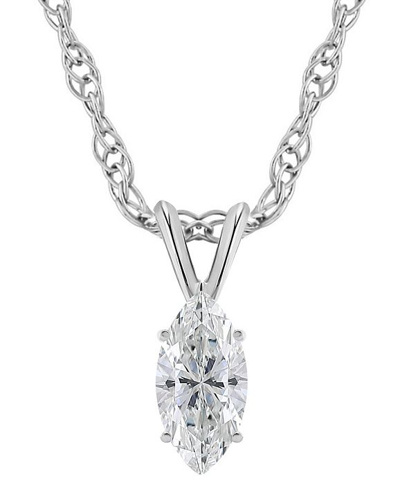 Macy's Certified Marquise Diamond Solitaire Pendant Necklace (1/2 ct. t.w.) in 14k White or Yellow Gold