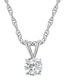 Certified Round Diamond Solitaire Pendant Necklace (1/3 ct. t.w.) in 14k White Gold or Yellow Gold
