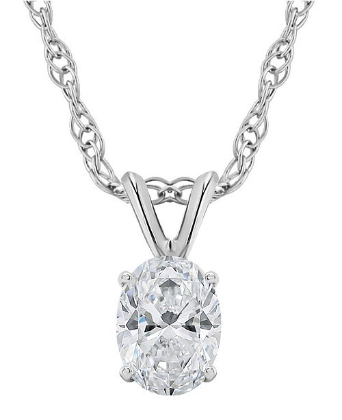 Macy's Certified Oval Diamond Solitaire Pendant Necklace (1/2 ct. t.w.) in 14k White Gold or Yellow Gold