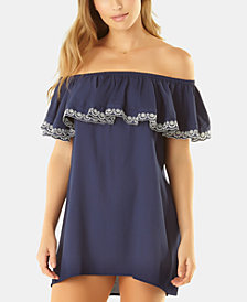 Anne Cole Studio Apple of My Eyelet Off-The-Shoulder Cover-Up