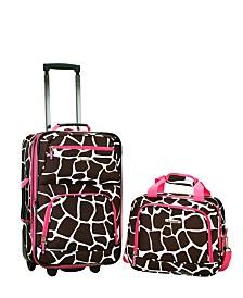 Rockland 2PCE Pink Giraffe Softside Luggage Set
