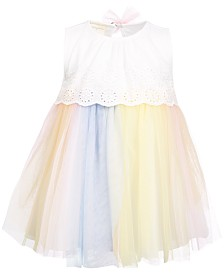 First Impressions Baby Girls Eyelet & Tulle Dress, Created for Macy's